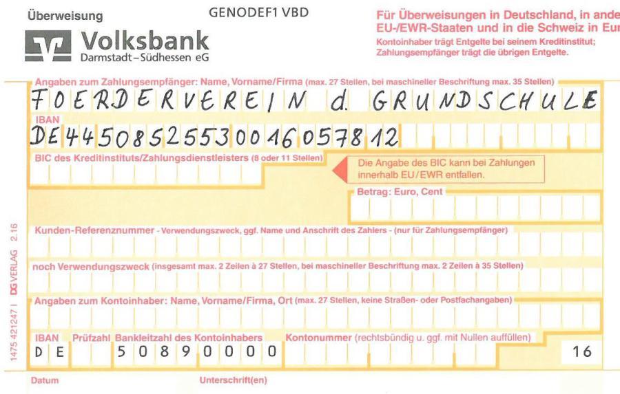 Förderverein der Grundschule Leeheim e.V. - Überweisungsformular